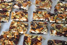 Gluten-Free Super Energy Bars    1 cup raw almonds (coarsely chopped)  1 cup raw pepitas  1 cup dried cherries  1/2 cup toasted flax seed (grinding it will give you the full nutritional benefits, but you can leave some seeds whole for the extra nutty crunch)  1 cup honey  1 - 4 oz of the darkest gluten-free chocolate you enjoy (optional)