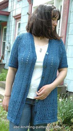 ABC Knitting Patterns - Denim Eyelet Cardigan