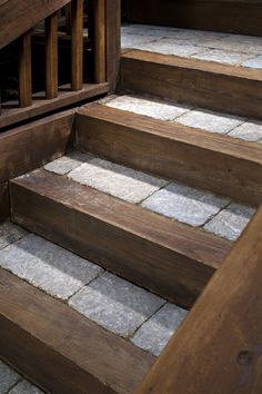 Stone Steps » SBI Materials. Belgard pavers with rustic wood.