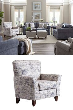 The Slate Sofa sets the scene for a modern space full of casual flare. Its smooth upholstery provides a luxuriously soft feel that's inviting. Gently rolled arms and plush seat cushions welcome comfort and relaxation. The on-trend slate-colored upholstery offers a perfect background for the four decorative pillows to pop with beauty. #shopgahs #sofa #couch #livingroom #livingroomfurniture #chair #accentchair #lovesaeat #den #familyroom