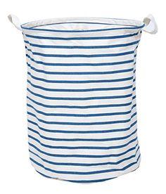 GreenForest® Fashion Cotton Linen Fabric Household Organizer Round Storage Basket 13.78x17.72 Inches, Blue strips