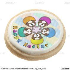rainbow Easter owl shortbread cookies Round Premium Shortbread Cookie