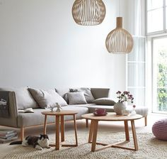 A welcoming living room with soft colours and birch Octo 4240 pendants by Secto Design. Interior, Interior Wall Design, Home Furniture, Living Room Interior, House Interior, Modern Furniture Living Room, Coffee Table, Cosy Living Room, Living Room Designs