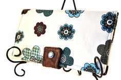 $30.00 Bifold Wallet with Pearl Snaps and Zipper Pocket Flowers And Brown Accents Blue Teal Turqoise
