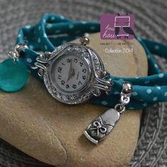 Bracelet montre triple tour • vert d'eau • 2014