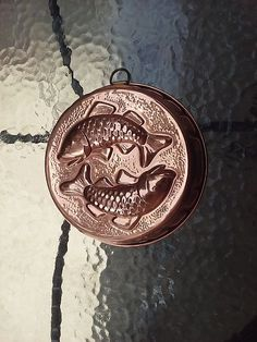 Copper Mold Koi Fish Vintage Jello Cake Wall Kitchen Nickel Lined Hanging Decor