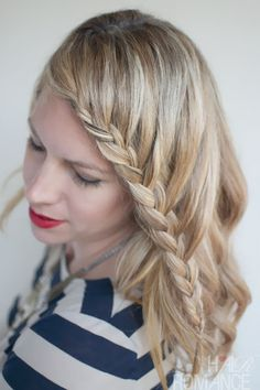 Hair Romance - 30 braids 30 days - 26 - the French Lace Fringe Braid Easy Curled Hairstyles, Easy Summer Hairstyles, French Braid Hairstyles, Braided Hairstyles Tutorials, Hairstyles With Bangs, Trendy Hairstyles, Girl Hairstyles, Updo Hairstyle, School Hairstyles