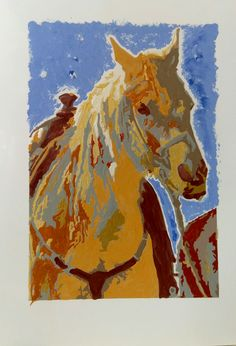 Saw this horse on the beach and took a picture. Then I printed an outline and painted it.