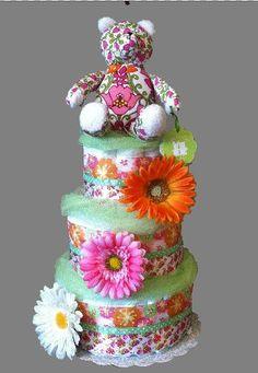 Vera Bradley Lilli Bell pattern 3 Tier Diaper Cake includes a Vera Bradley stuffed bear and infant socks.