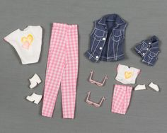 Doll Clothes 2 1//2 in Shoes White-PINK Trim