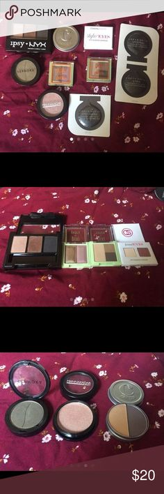 10 Piece Eyeshadow and Primer Bundle WILLING TO NEGOTIATE! :) Ipsy & Nyx Limited Edition Eyeshadow Trio. Pixi by Petra Mesmerizing Mineral Duo. Eyeshadow Duo in Lavender Bloom. Pixi by Petra Mini Brow Trio in Shades of Brow. Coastal Scents Style Eyes Eyeshadow Sampler in Formal Eyes.  Cargo Eyeshadow Duo in Sand and Ferry. Mannakadar Beauty Eyeshadow in Fantasy. Sephora shimmering Eyeshadow in the shade Snakeskin Dress No02. 3 Urban Decay Eyeshadow Primer Potion Samples. In shades Eden…