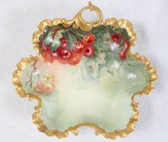 Antique Favorite Bavaria Cherry pattern hand painted Salad Plate Ca 1915