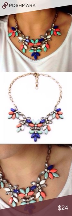 Coral Mint Crystal Statement Necklace Brand new! All jewelry is buy 2 get 1 free!! :) Jewelry Necklaces
