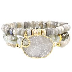 Fox and Baubles Brass Triple Faceted Labrodite Pyrite Fossil and Druzy Quartz Bracelet Women's