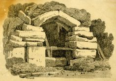 Plymplith - A stone structure, possibly with a well inside, among trees, with grassy area in foreground; parts of the image traced on verso.  1827  Lithograph, verso touched with graphite