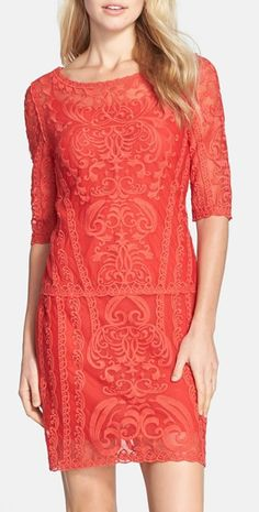 Embroidered Mesh Shift Dress in Hibiscus