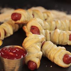Get in the Halloween spirit with these Mummies in a Blanket hot dogs! Not only are they scary fun, they're scary easy to make!