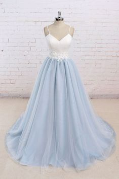 Baby blue tulle long simple 3D flower senior prom dress, long tulle wedding dress