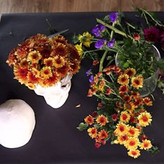 Pin for Later: A Skull Floral Arrangement You'll Want to Keep All Year Watch the Time-Lapse Video!