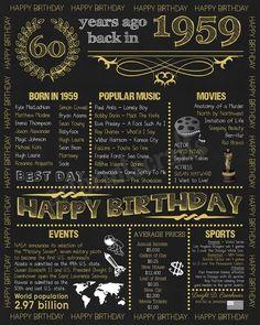 Personalized Birthday Chalkboard Poster, 1959 Birthday Gift, 60 Years Ago, Custom Printable Digital File JPG or PDF, 60 Birthday Poster 40th Birthday Cards, Birthday Dates, 75th Birthday, Birthday Ideas, Grandpa Birthday, Birthday Crafts, The Blues Brothers, Birthday Chalkboard, Happy Year