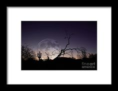 Desert Moon Rise #framed #framedwallart by Amy Sorvillo • Check out https://ollivrosa.pixels.com/ for #prints and more!  #accessories #gifts #art #shopsmall #smallbusiness #homedecor #shopping