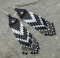 Native American Style Long Seed Bead Earrings  by Anabel27shop