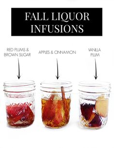 A variety of different liquor infusion recipes for fall like Apple Cinnamon Spiced Rum, Peach and Pecan Whiskey, Pumpkin Pie Whiskey, Vanilla Plum Vodka, and more! Fall liquor infusion recipes. // www.ElleTalk.com