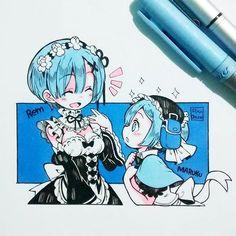 Rem & Maruku by Ibu_Chuan Anime Chibi, Kawaii Anime, Arte Do Kawaii, Kawaii Chibi, Kawaii Art, Manga Anime, Anime Art, Copic Drawings, Cute Drawings