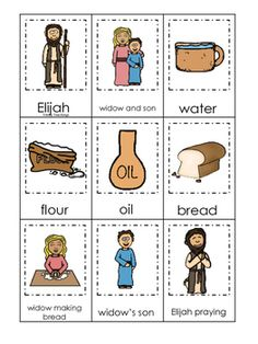 Elijah and the Widow 3 Part Matching printable game. Bible Story Crafts, Bible Stories For Kids, Bible Crafts For Kids, Preschool Bible, Bible Study For Kids, Bible Lessons For Kids, Bible Activities, Preschool Games, Kids Bible