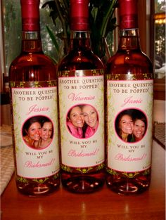 I LOVE this idea for bridal party gifts! Custom bridesmaid wine labels for each member of your Bridal Party. Wedding Events, Our Wedding, Dream Wedding, Weddings, Trendy Wedding, Wedding Dress, Wedding Table, Cute Wedding Ideas, Perfect Wedding