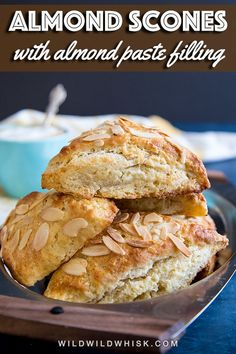 Tender Almond Scones filled with almond paste or marzipan pair deliciously with a morning cappuccino or an afternoon tea. Gourmet Recipes, Baking Recipes, Almond Paste, Almond Recipes, Apple Recipes, Sweet Bread, Breakfast Recipes, Brunch Recipes, Breakfast Ideas