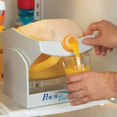 Fine it difficult to lift and pour large soda, juice or milk bottles? Pour Thing is a convenient system for dispensing beverages without putting stress on your hands or shoulders. Just place the bottle or jug into the cradle and tilt forward. Pour Thing fits on a shelf in your refrigerator.