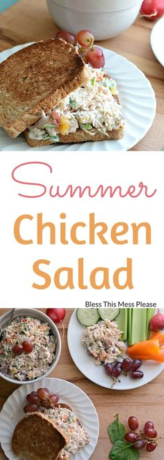 Healthy Recipes : Illustration Description Summer Chicken Salad ~ simple and delicious summer meal! -Read More – Clean Eating, Healthy Eating, Summer Chicken, Cooking Recipes, Healthy Recipes, Easy Recipes, Chicken Salad Recipes, Salad Chicken, Sandwiches