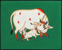 Cow Painting, Krishna Painting, Fabric Painting, Tanjore Painting, Traditional Wall Paint, Traditional Paintings, Pichwai Paintings, Indian Paintings, Pigment Coloring