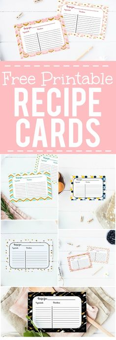 Free Printable Recipe Cards -Keep all of your favorite recipes safe and…