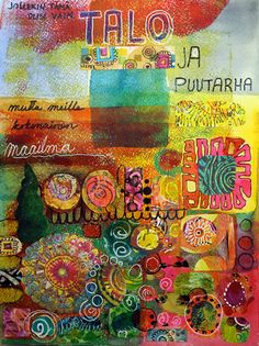 Art journal page, house and garden by Peony and Parakeet