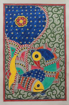 Madhubani painting - Fish and Magnificent Peacock | NOVICA