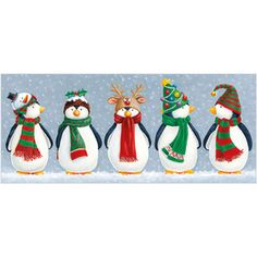 XS06 Penguins in Hats £4.25 Pack of 10 Christmas cards with 100gsm, 100% recycled, white envelopes. Message inside reads: Best Wishes for Christmas and the New Year. Visit our website www.turnerscards.co.uk to buy this card or see the complete range.
