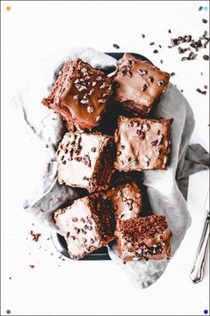 Chocolate On Chocolate Is One Of Lifes Greatest Things No? Delicate, Light, Rich, These Chocolate Cake Brownies Are Super Simple To Make But Still Taste Amazing. The Ganache Ill Be Honest Is My Favorite Part. Only 3 Ingredients And So Damn Good. Umf. I Could Eat It By The Spoon, Happily.
