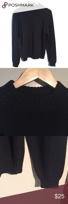 Lands' End Cotton Mock Sweater Lands' End cotton black mock sweater in excellent used condition. Wear alone or with a white collared shirt layered underneath for a contemporary look. Lands' End Sweaters