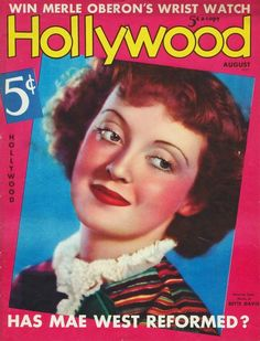 Bette Davis - Hollywood, August 1936, the cover asks Has Mae West reformed.