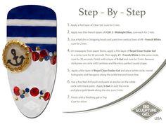 Nautical step-by-step Bio Sculpture Nails, Eye Brows, Nail Art Galleries, Art Tutorials, Fun Nails, Nail Art Designs, Nautical, Eye Makeup, The Cure