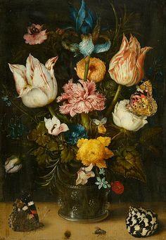 "Ambrosius Bosschaert the Elder ""Still Life with Flowers"",1608."