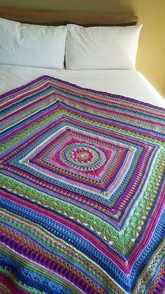 The Sunshine Mandala Blanket pattern by Hooked on Sunshine You are in the right place about Crochet videos Here we offer you the most beautiful. Crochet Square Blanket, Afghan Crochet Patterns, Baby Blanket Crochet, Crochet Baby, Knitting Patterns, Crochet Blankets, Crochet Afghans, Mandala Blanket, Crochet For Beginners Blanket