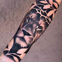 Lion Forearm Tattoos, Lion Head Tattoos, Bull Tattoos, Dope Tattoos, Body Art Tattoos, Tattoos For Guys, Tattos, Black Band Tattoo, Wrist Band Tattoo