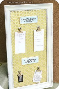 Magnetic Organizational Board from a Thrifted Frame DIY magnetic board using tin and a thrift store frame! This would be great for the office!DIY magnetic board using tin and a thrift store frame! This would be great for the office! Magnetic Picture Frames, Picture Frame Crafts, Old Picture Frames, Photo Frames Diy, Binder Clips, Decorative Radiators, Budget, Diy Frame, Creative Crafts