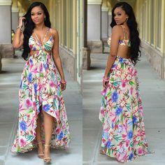 f00219da39 High Low Print Boho Dress Sexy Bikini Beach Dresses H10