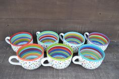 Bumpy Mug - Super Awesome Dots and Stripes Ceramic Coffee or Soup Mug - 28 oz. - OOAK Hand Painted Mug on Etsy, $32.00