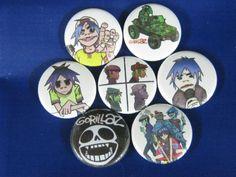 """Gorillaz Gorill8z  beach demon days 7- 1"""" pins buttons badges"""