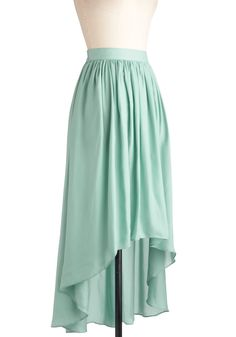Sea the Light Skirt - Long, Green, Solid, High-Low Hem, Pastel--I would love to sew a skirt like this